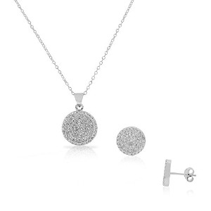 925 Sterling Silver White Clear CZ Round Stud Earrings Pendant Necklace Set