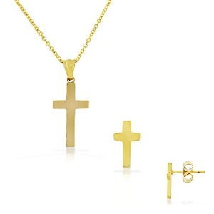Stainless Steel Yellow Gold-Tone Latin Cross Stud Earrings Necklace Pendant Set