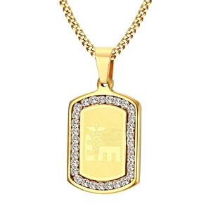 PF : Emergency Medical of Life Necklace & Pendant Gold Plated Inlay CZ Zirconia
