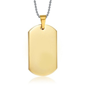 """PF : """"Stainless Steel ID Dog Tag Necklace Gold / Black Plated High Polished Necklace Free Chain 24""""..."""