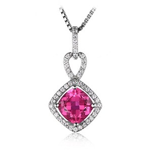 JewelryPalace クッション 2.2ct スクエア ピンクサファイア 記約 束記念 リング 925スターリング シルバー