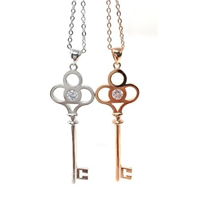 CZ クローバー キー チェーン クリップ ネックレス (CZ Clover Key Chain Clip Necklace)