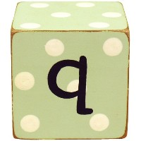 New Arrivals Letter Block Q, Green/White by New Arrivals