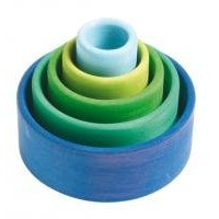 Grimm's Set of 5 Small Wooden Stacking & Nesting Rainbow Bowls, Ocean Blue by Grimm's Spiel und...