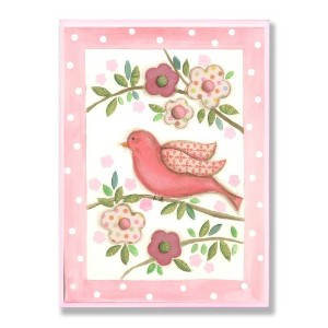 The Kids Room by Stupell Pink Bird on a Branch with Patchwork Flowers Rectangle Wall Plaque by The Kids Room by Stupell