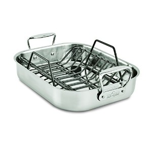 All-Clad 51114 Stainless Steel Petite Roti Pan with Nonstick V-Shaped Roasting Rack / Cookware,...