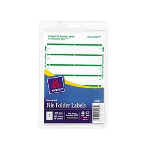 Print or Write File Folder Labels, 11/16 x 3-7/16, White/Green Bar, 252/Pack (並行輸入品)