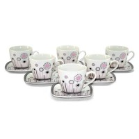 6 Piece Cup and Saucer Set (Set of 6) by Three Star Im/Ex Inc.