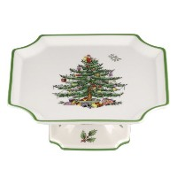 Spode Christmas Tree Footed Square Cake Plate, 6.5-Inch by Spode