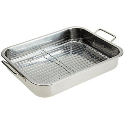 Stainless Steel Heavy Duty 16 Lasagna / Roasting Pan with Rack by Imperial Home