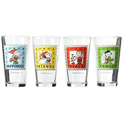 Pint Glass - Peanuts - Snoopy Holiday Stamp 4 Pack New Licensed Toys 09761