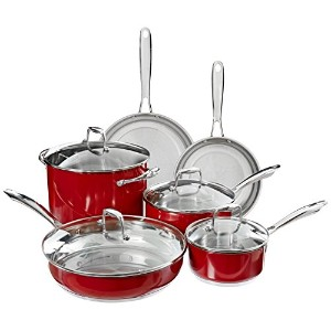 KitchenAid KCSS10ER Stainless Steel 10-Piece Cookware Set - Empire Red by KitchenAid