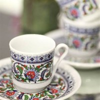 Turkish Coffee or Espresso Cup & Saucer for 6 People (12 Pcs) by Kutahya Porcelain