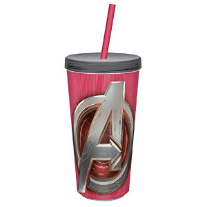 Zak! Designs Insulated Tumbler with Screw-on Lid and Straw, Avengers 2 Logo, BPA-free Plastic, 16...