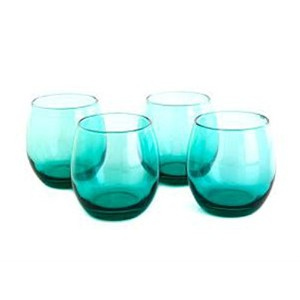 Circleware 4pc。Aqua Stemless Red Wine Glasses