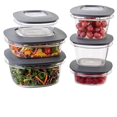 Rubbermaid Premier Food Storage Containers, 12-Piece Set, Grey by Rubbermaid