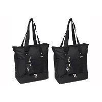 Everest Luggage Deluxe Shopping Tote Black Set of 2 by Everest