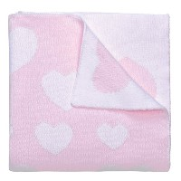 Elegant Baby, 100% Cotton, Tightly Knit Heart Blanket, 30 x 40 Inch in Pastel Pink and White by...