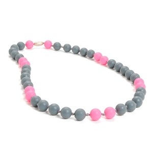 Chewbeads Waverly Teething Necklace, 100% Safe Silicone - Stormy Grey by Chewbeads