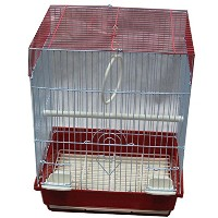 Iconic Pet Flat Top Bird Cage, Small, Red by Iconic Pet