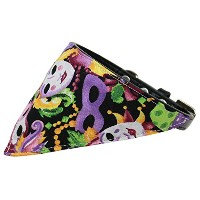 Mardi Gras Bandana Pet Collar Black Size 16