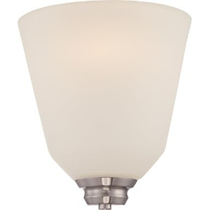 Nuvo Nuvo62/361 Calvin 1-Light Wall Sconce with Satin White Glass and LED Omni by Nuvo