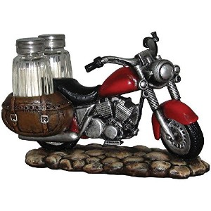 Spicy Rider Motorcycle Salt And Pepper Shaker Set- Vintage Kitchen Tableware by DWK