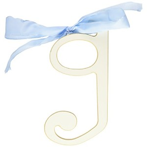 New Arrivals Wooden Letter G with Blue Solid Ribbon, Cream by New Arrivals