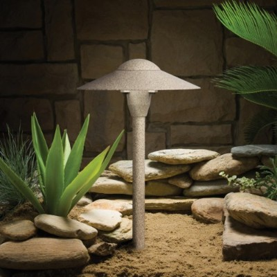 15410BE Dome 1LT 15IN Incandescent/LED Hybrid LV Landscape Path & Spread Light, Beach Finish by...