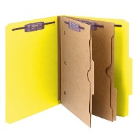 Pressboard Folders with Two Pocket Dividers, Letter, Six-Section, Yellow, 10/Box (並行輸入品)