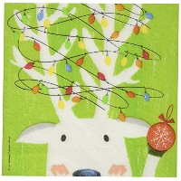 Paperproducts Design 7135 Holiday Paper Napkin for Cocktail, 5 by 5-Inch, Deer in Headlights by...