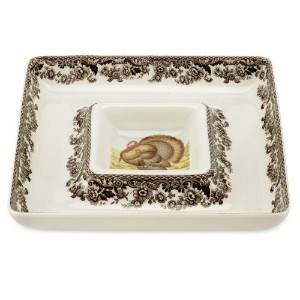 Spode Woodland Turkey Square Chip and Dip Serving Set by Spode