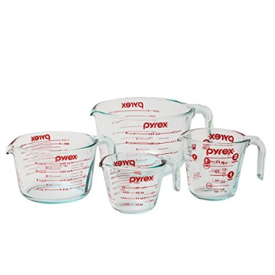 Pyrex 4-Piece Glass Measuring Cup Set with Large 8 Cup Measuring Cup by Pyrex