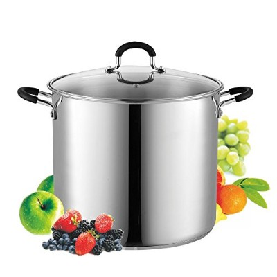 Cook N Home 02441 Stockpot Saucepot with Lid Induction Compatible, 12 quart, Metallic by Cook N Home