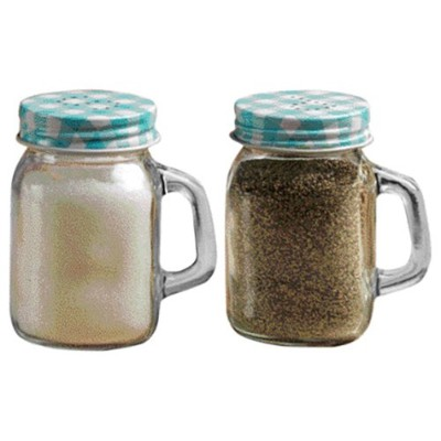 Circleware Yorkshire Mason Jar Mug Glass Salt and Pepper Shakers with Glass Handles and Blue & Lids...
