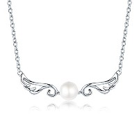 Silver Necklace with Freshwater Pearl Pendant for Women シルバーネックレス 1粒真珠パールペンダント エレガント天使の翼 レディース WOSTU