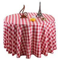 Zhhlinyuan 良質 Washable Round Dining Table Cloth Modern ホーム Pastoral Plaid Tablecloth