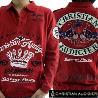【SALE】クリスチャン オードジェー L/S ポロシャツ ガレージ パーツ レッドChristian Audigier L/S Polo CMVI165LAC GARAGE PARTS Red...