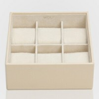 309753-STACKABLE ウルフ 時計収納用トレー 蓋なし(6本収納) クリーム WOLF [309753STACKABLE]【返品種別B】【送料無料】