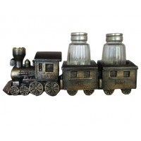 Collectible Vintage Copper-look 2-Piece Train Salt And Pepper Shaker Set by DWK Corp.