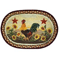 Earth Rugs 48-391MR Oval Shaped Placemat, Morning Rooster