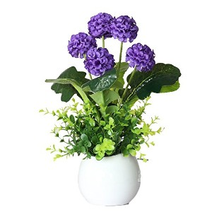 Linyuan 安定した品質 Artificial Flowers 造花 5 Head Small Hydrangea Bush with Buds for Indoor Decoration