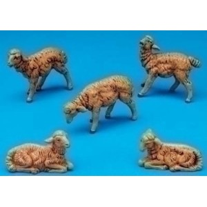 Fontanini Brown Sheep Italian Nativity Village Figurines Set of 5 52539 New by Fontanini