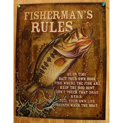 Fisherman's Rules Tin Sign 13 x 16in by OMSC
