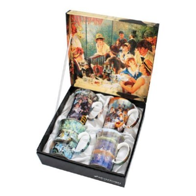 Set of 4 Renoir Classics Coffee or Tea Mugs in a Matching Gift Box and 6 Tea Bags, Bundle 2 Items...