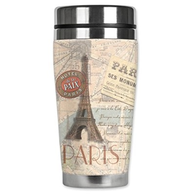Mugzie 402-MAX Paris Stainless Steel Travel Mug with Insulated Wetsuit Cover, 20 oz, Black by Mugzie