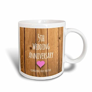 "3drose Mug _ 154433 _ 5 "" 5th Wedding Anniversaryギフト木製Celebrating 5 Years Together 2トーンレッド""マグカップ..."
