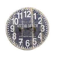 Gift Craft Weathered Wood Wall Clock, Blue and White [並行輸入品]