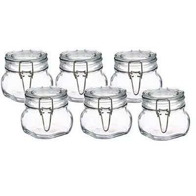 Bormioli Rocco Fido Clear Glass Jar with 85 mm Gasket,0.5 Litre (Pack of 6)