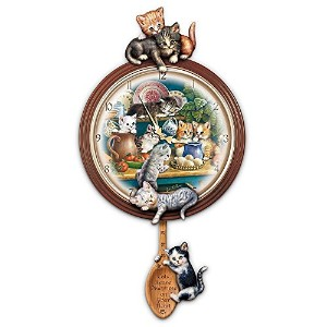 Kitchen Capers Cat Art Decorative Wall Clock Gift Idea by The Bradford Exchange [並行輸入品]